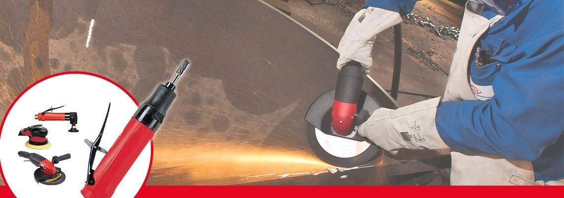 Entre a nossa linha completa de esmerilhadeiras  e lixadeiras pneumáticas , conheça nossa  esmerilhadeira pneumática para discos com centro rebaixado. Peça uma cotação ou uma demonstração!