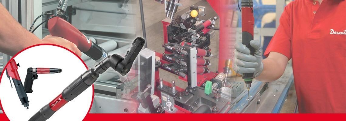 """A parafusadeira pneumática linha FAS  """"shut off""""  é ideal para garantir  segurança no sistema de fixação e permite uma  calibração rápida e automática com sistema de controle de montagem."""